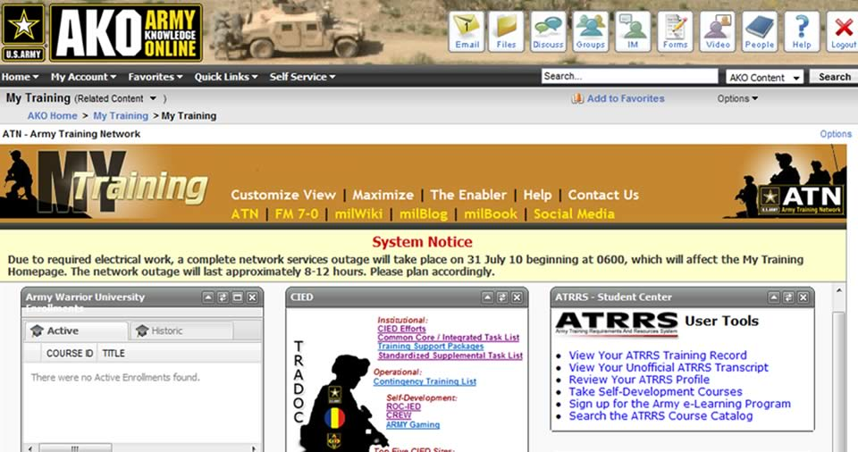 What is Army Knowledge Online?